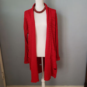 Ashley Stewart long red cardigan w/cable detailing